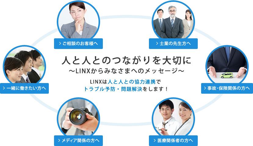 人と人とのつながりを大切に 〜LINXからみなさまへのメッセージ〜 LINXは人と人との協力連携で トラブル予防・問題解決をします!